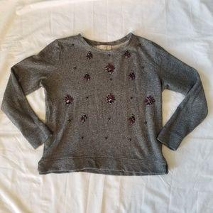 Ann Taylor Loft Embelished Grey Sweater